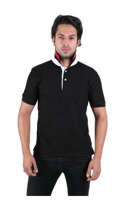 Solid Men's Polo Neck Black T-Shirt