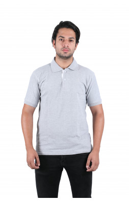 Solid men's Polo Neck Gray T-Shirt