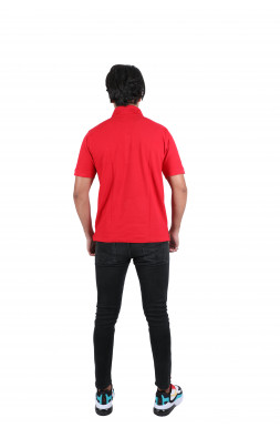Solid Men's Polo Neck Red T-Shirt