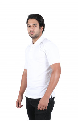Solid Men Polo Neck White T-Shirt