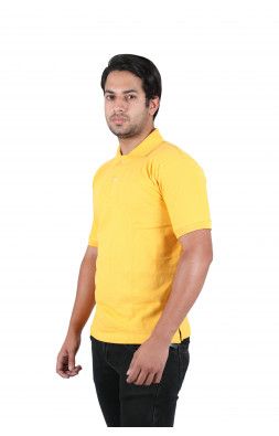 Solid Men Polo Neck Yellow T-Shirt