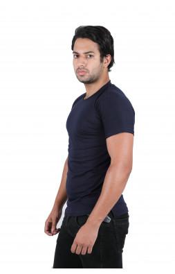 Solid Men's Round Neck Blue T-Shirt