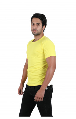 Solid Men's Round Neck Yellow T-Shirt