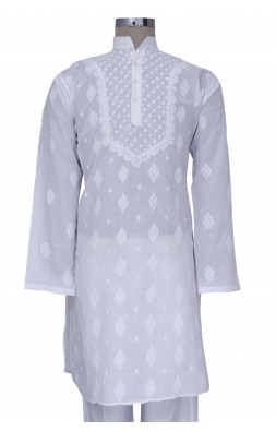 Hand Embroidered White Cotton Lucknow Chikan Kurta