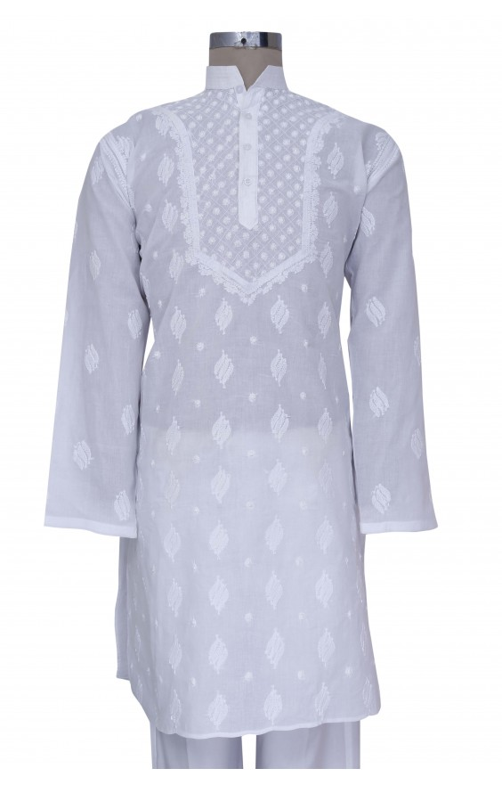 Hand Embroidered White Cotton Lucknow Chikan Kurta