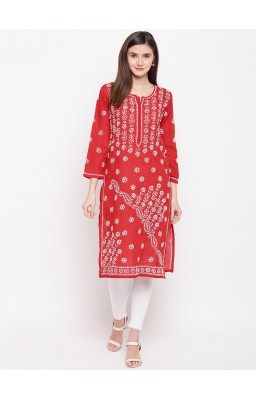 Hand Embroidered Red Cotton Lucknow Chikankari Kurti