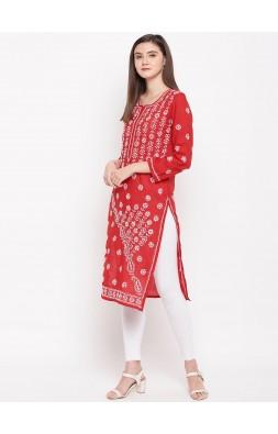 Hand Embroidered Red Cotton Lucknow Chikankari Kurti