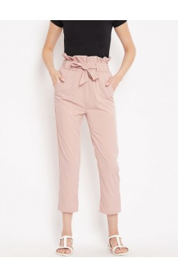 Women Pink Regular Fit Solid Peg Trousers